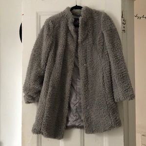 Kenneth Cole Grey Fuzzy coat